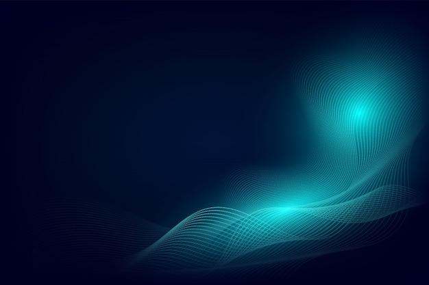 Diseño moderno del fondo abstracto de la onda de la línea azul de la partícula con el espacio de la copia
