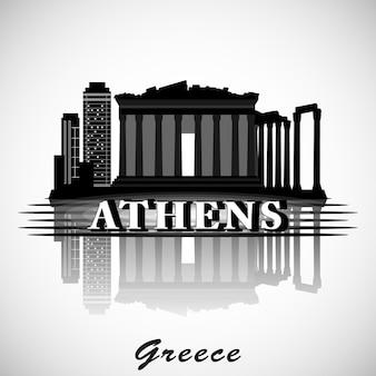 Diseño moderno del horizonte de la ciudad de atenas. grecia