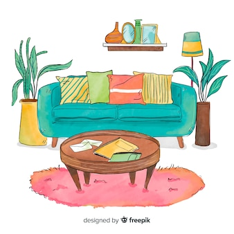Diseño moderno de interior de casa en acuarela