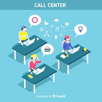Diseño moderno isométrico de call center
