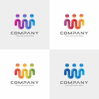 Diseño moderno de logotipo de conexión humana