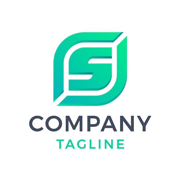 Diseño moderno del logotipo del gradiente verde de la insignia de la hoja de la letra s