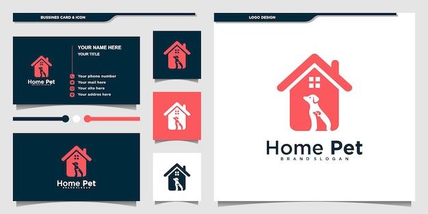 Diseño moderno de logotipo y tarjeta de visita para mascotas en el hogar vector premium