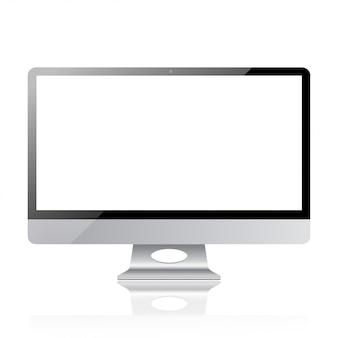 Diseño moderno de maqueta de pantalla de computadora con pantalla de monitor realista con pantalla de marco de moda en ilustración de estilo de metal plateado