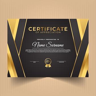 Diseño moderno de plantilla de certificado con colores dorados