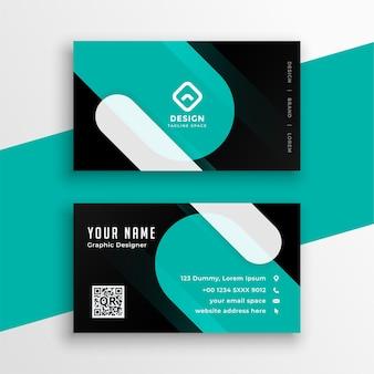 Diseño moderno de plantilla de tarjeta de visita turquesa y negra