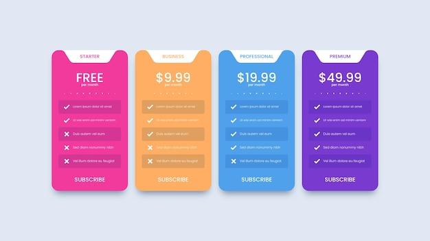 Diseño moderno de tabla de precios con cuatro planes de suscripción.