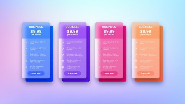 Diseño moderno de tablas de precios web para empresas.