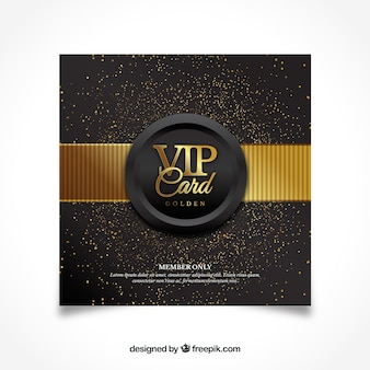 Diseño moderno de tarjeta vip dorada