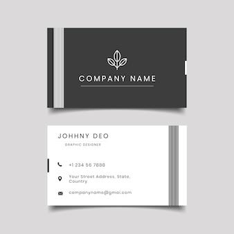 Diseño moderno de tarjeta de visita gris negro