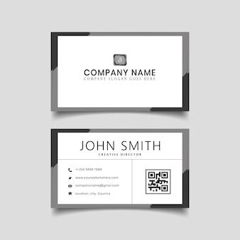 Diseño moderno de tarjeta de visita gris negro.