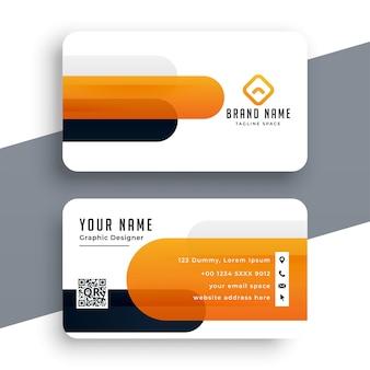 Diseño moderno de tarjeta de visita naranja