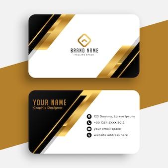 Diseño moderno de tarjeta de visita negra y dorada