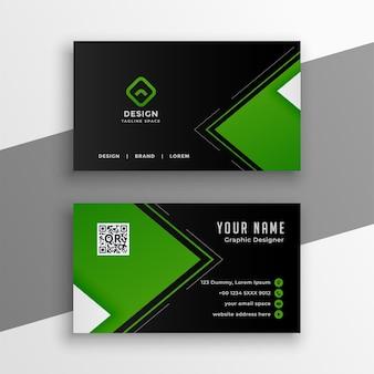 Diseño moderno de tarjeta de visita verde y negra.