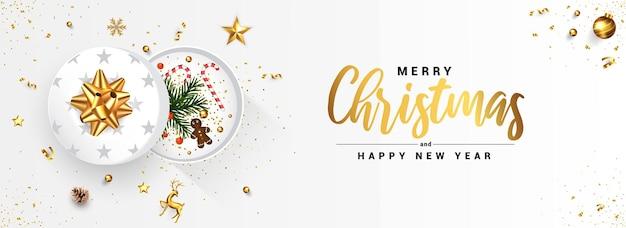 Diseño moderno de tarjetas de felicitación de feliz navidad y feliz año nuevo, diseño de invierno con adornos dorados y cajas de regalo sobre fondo blanco.