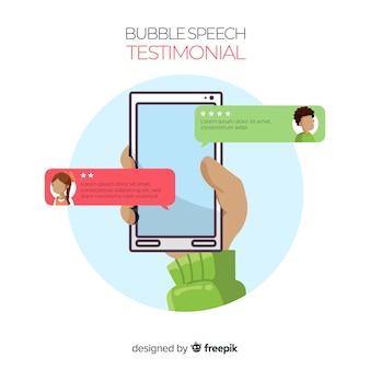 Diseño moderno de testimonial con concepto de burbujas de texto