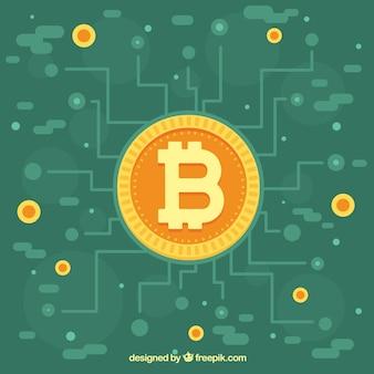 Diseño moderno verde de bitcoin
