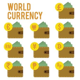 Diseño de moneda mundial plana