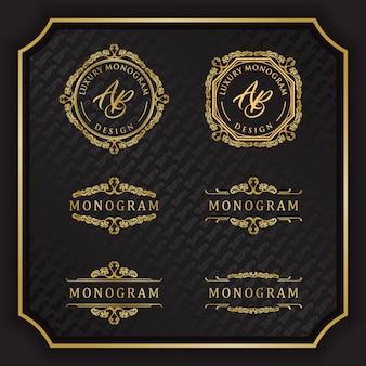 Diseño de monograma de lujo con elegante fondo negro
