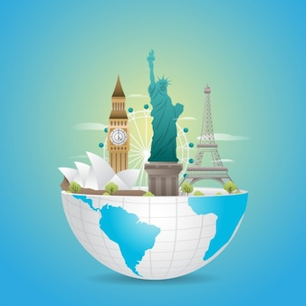 Diseño de monumentos emblemáticos del mundo