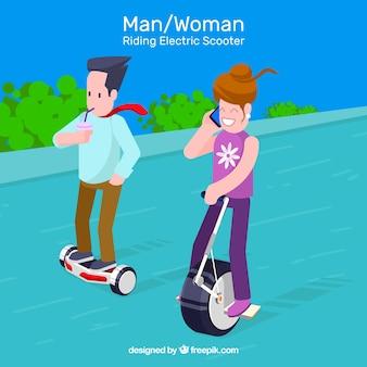 Diseño de moto eléctrico con mujer hablando por móvil