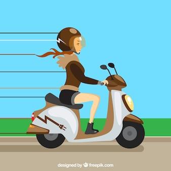 Diseño de moto eléctrico con mujer rápida