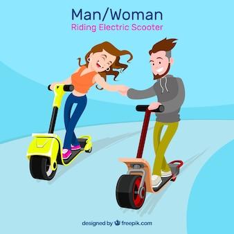 Diseño de moto eléctrico con pareja feliz