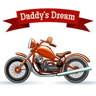Diseño de motocicleta retro a color