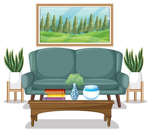 Diseño de muebles de sala sobre fondo blanco.