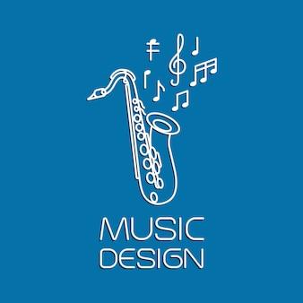 Diseño de música con saxofón alto.