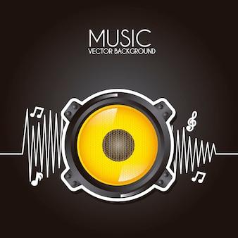 Diseño de música sobre fondo negro ilustración vectorial