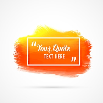 Diseño naranja de cita en mancha de acuarela