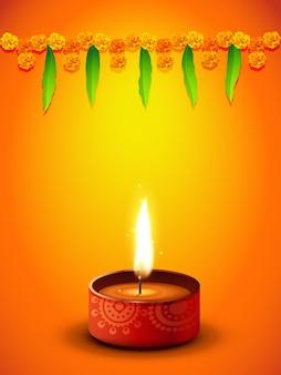 Diseño naranja para el festival de diwali