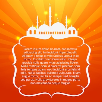 Diseño naranja islámico con espacio para texto