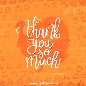 Diseño naranja de lettering para el día de acción de gracias