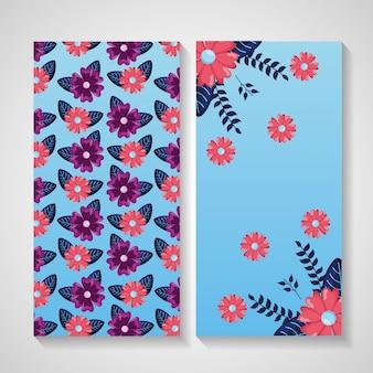 Diseño de naturaleza de flores para tarjeta de felicitación