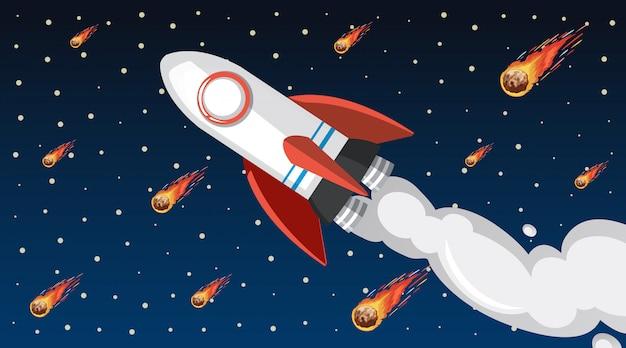 Diseño con nave espacial volando en el cielo
