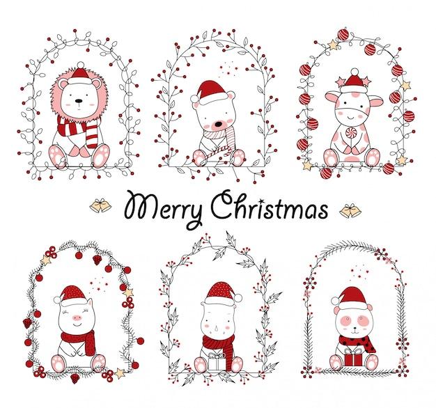 Diseño de navidad con la caricatura animal lindo en marco floral. estilo de dibujos animados dibujados a mano