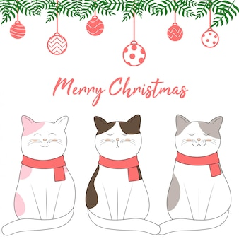 Diseño de navidad con estilo de dibujos animados lindo gato dibujado a mano