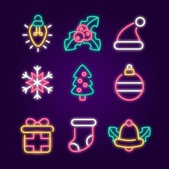 Diseño de navidad de luz de neón para decoración