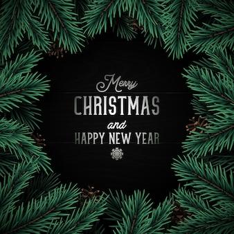 Diseño navideño con pino realista.