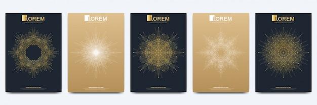 Diseño de negocios, ciencia y tecnología. presentación con mandala dorado.