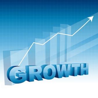 Diseño de negocios de crecimiento con flecha que se mueve hacia arriba