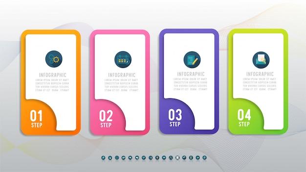 Diseño de negocios cuatro opciones elemento gráfico infográfico.