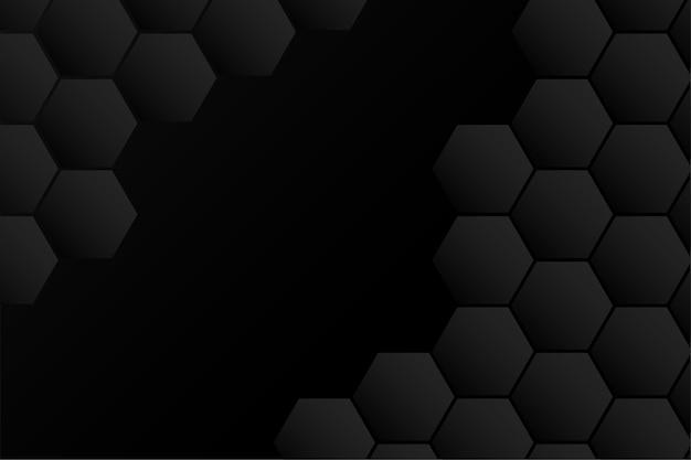Diseño negro hexagonal abstracto
