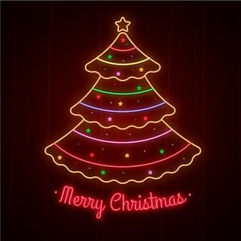 Diseño de neón del concepto de árbol de navidad