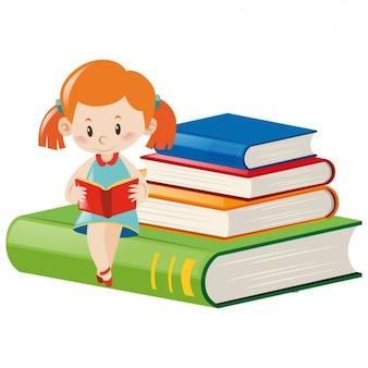 Diseño de niña leyendo