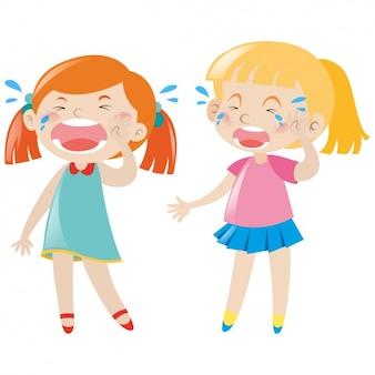 Diseño de niñas llorando