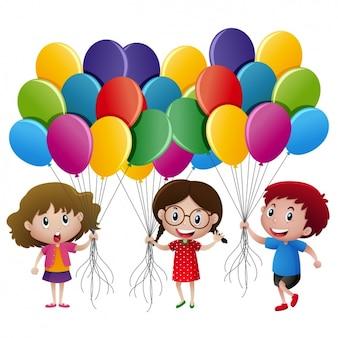 Diseño de niños con globos