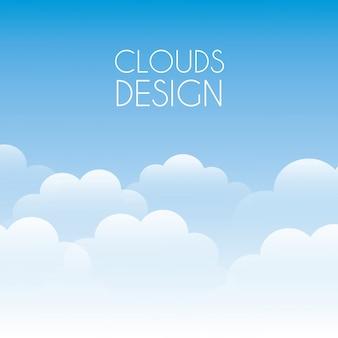 Diseño de nubes sobre fondo de cielo ilustración vectorial